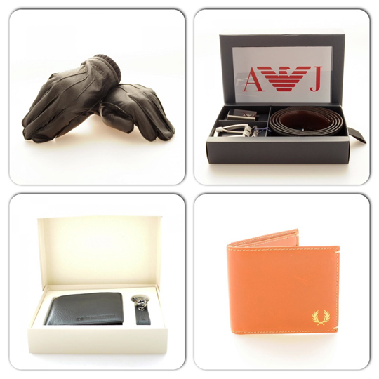 Armani Leather Gloves, Armani Leather Belt, Boss Orange Leather Box Set, Fred Perry Tan Leather Wallet