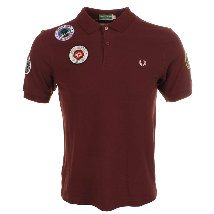 Fred Perry x Twisted Wheel Badge Polo T Shirt Maroon