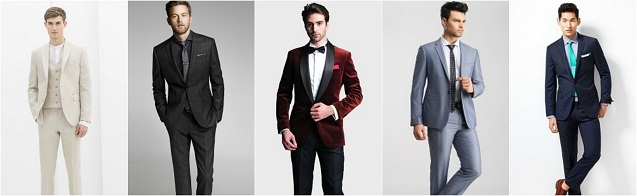 Men wearing different suits, white, black , red blue and navy suits
