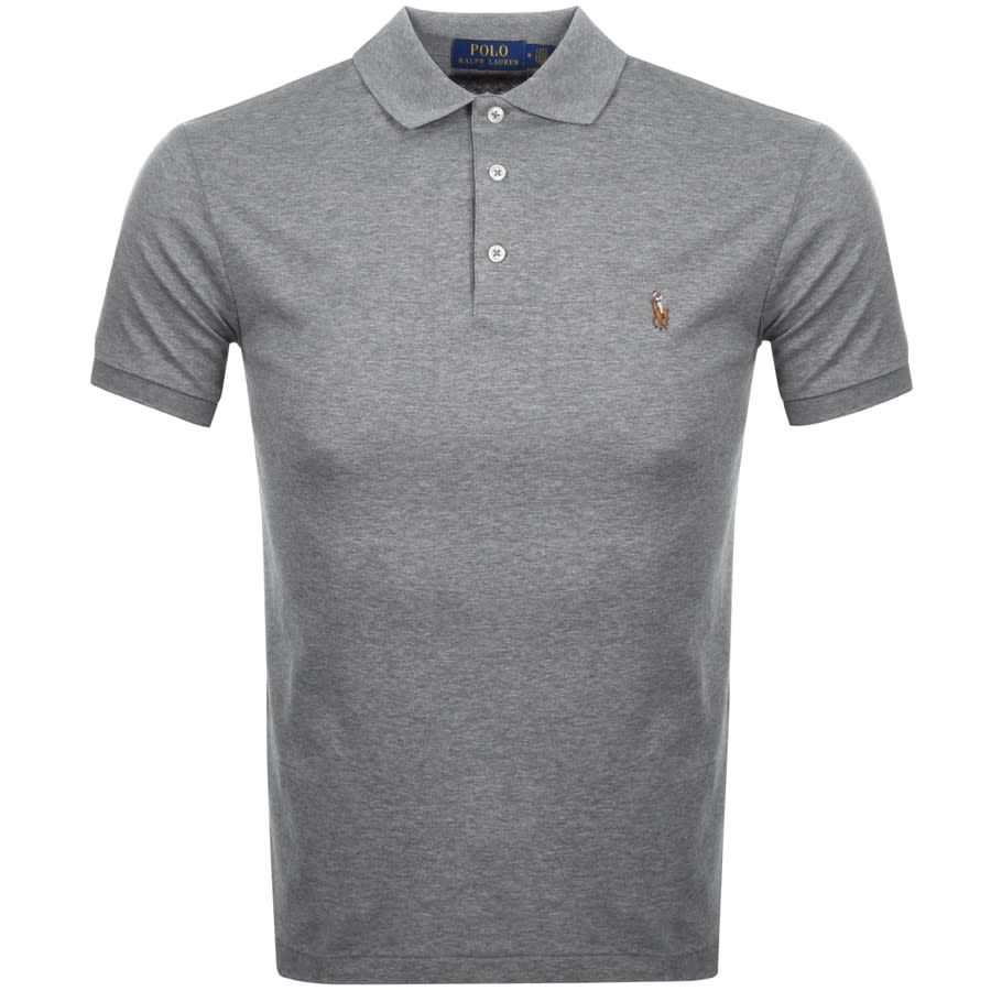 A grey Ralph Lauren polo shirt against a white background.