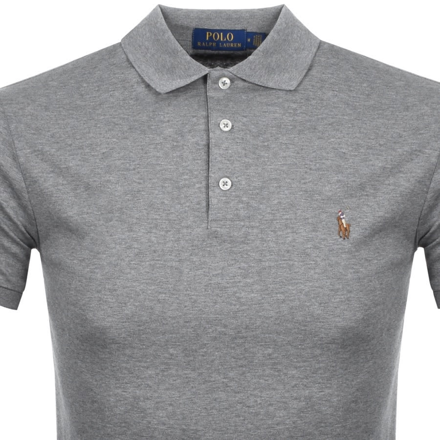 A high-quality close up shot of a grey Ralph Lauren polo shirt.