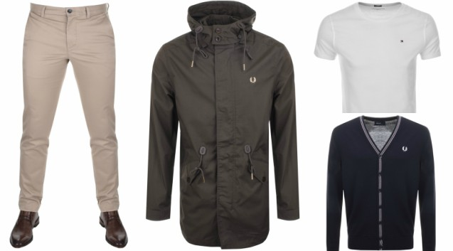 e78366cc Lacoste Slim Fit Chino Trousers Beige | Fred Perry Fishtail Parka Jacket  Brown | Tommy Hilfiger Icon T Shirt White | Fred Perry V Neck Merino Wool  Cardigan ...