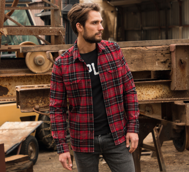 c423661799b Arguably the best approach to plaid in the winter is a flannel shirt.  Perfect for constructing a layered look, checked shirts in darker colours  such as red ...