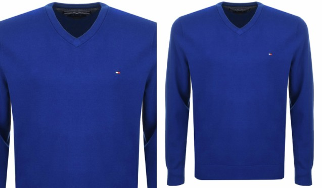 a308fd63d8 Tommy Hilfiger s blue V neck sweater perfectly complements the shirt