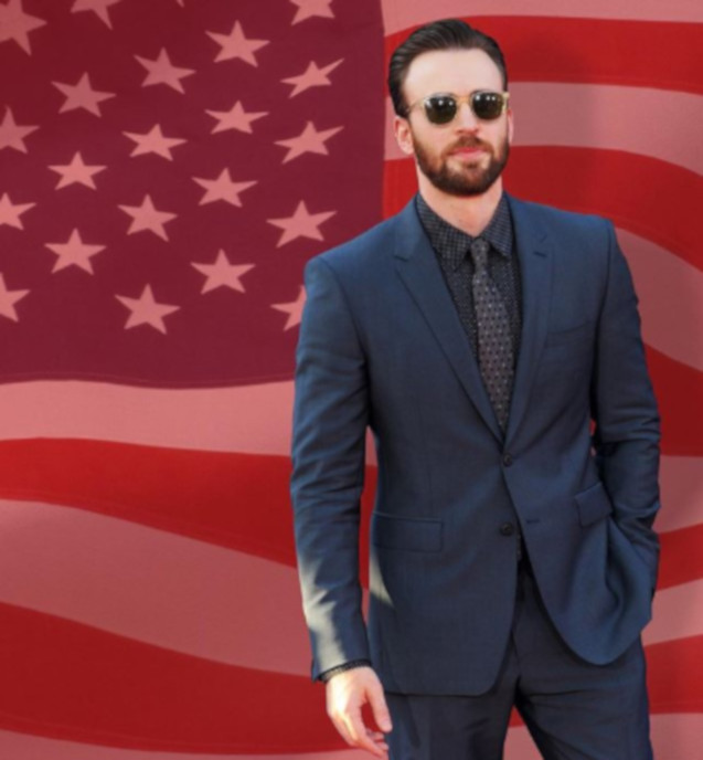 Chris Evans In Blue Suit