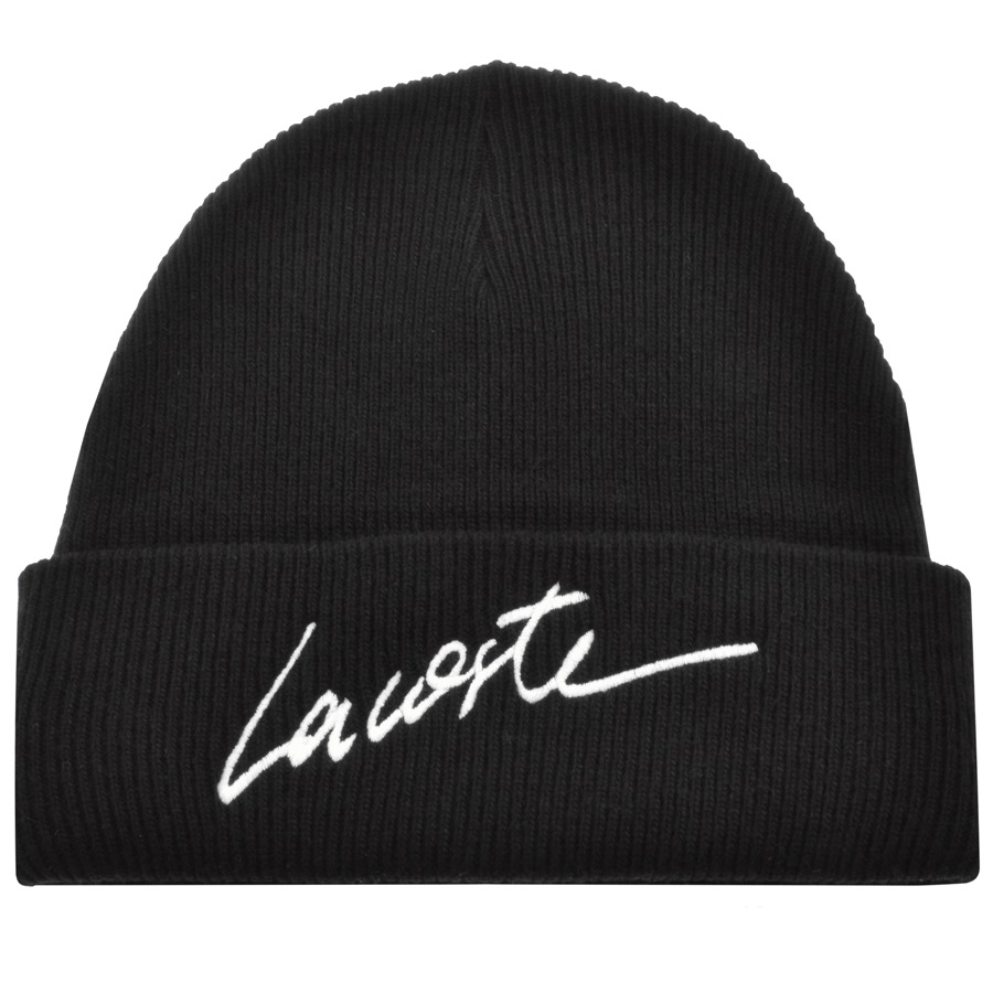 25dae465 ... beanie turn up. The Lacoste logo is situated neatly to the right of the  hat. A unique pattern with it's stark contrast of monochrome lettering, ...