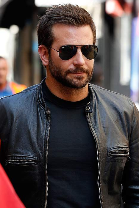 Bradley Cooper wearing a leather jacket