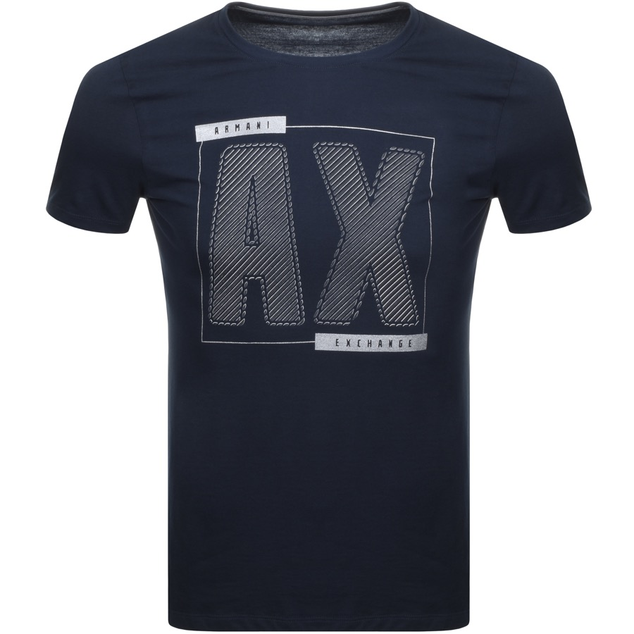 A black t shirt with AX logo printed on the front