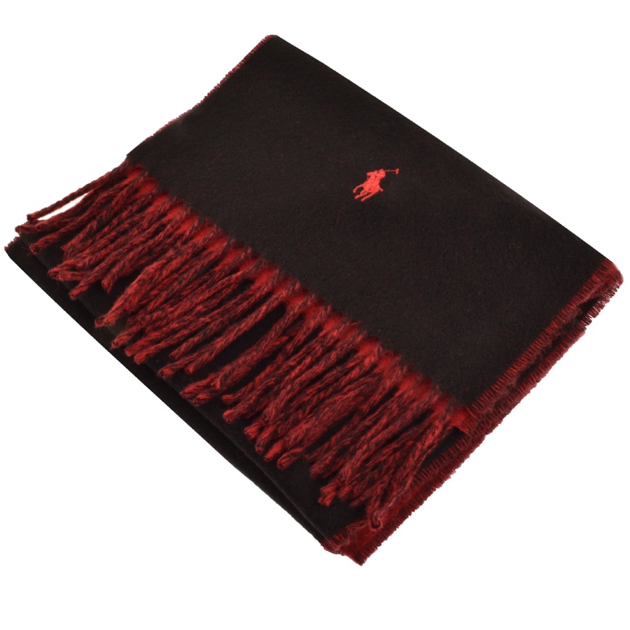 A black and red ralph lauren scarf with the polo logo on the end