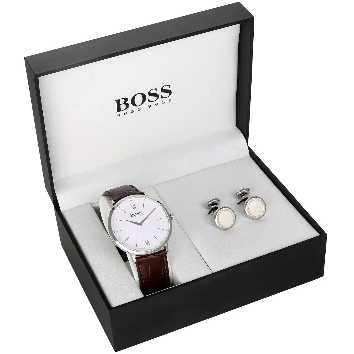 Hugo Boss watch with cufflinks.