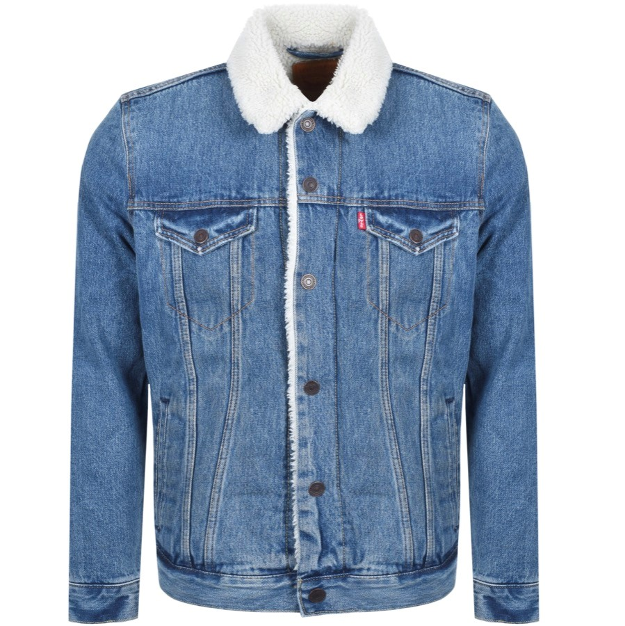 A denim jacket with sherpa collar by Levis
