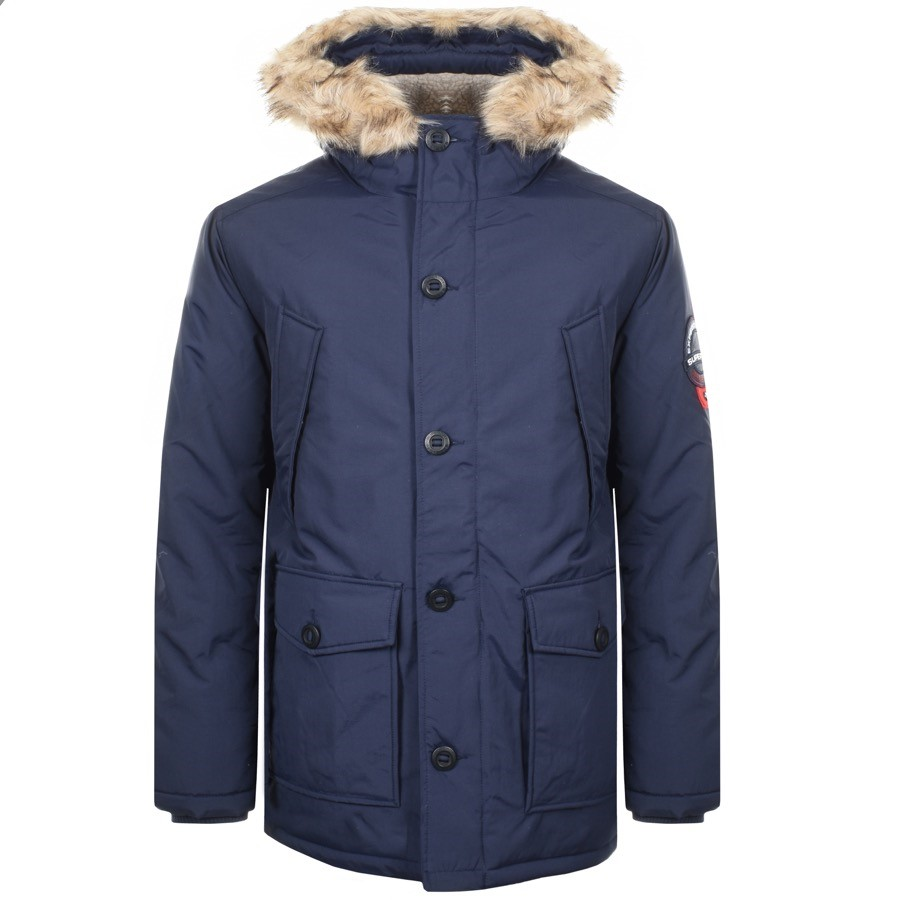 Everest Parka in blue with faux fur hood