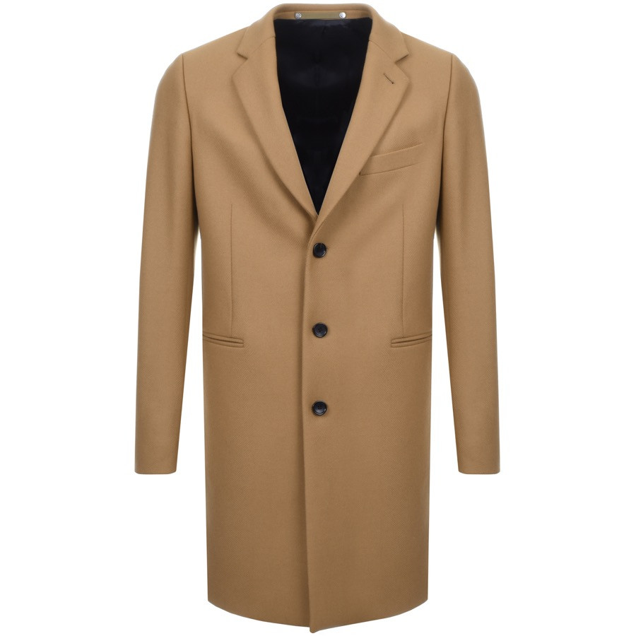A long overcoat in camel