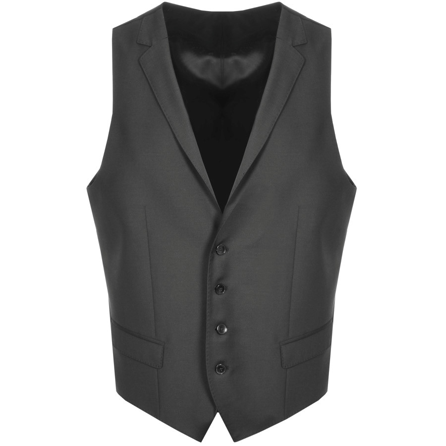 black fitted waistcoat