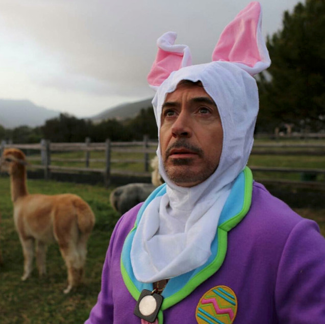 Robert Downey Jr. wearing a Easter bunny costume