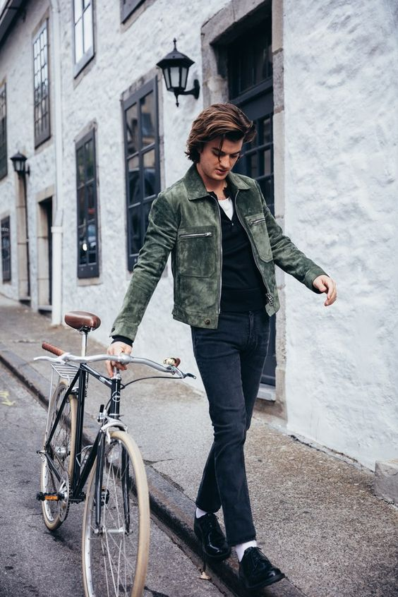Joe Keery Wearing a Green Jackets