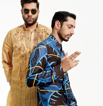 Riz Ahmed Wearing Patterned Shirt