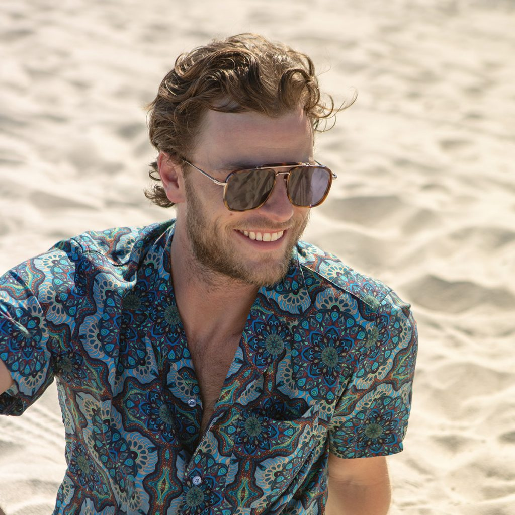 Man wearing patterned shirt