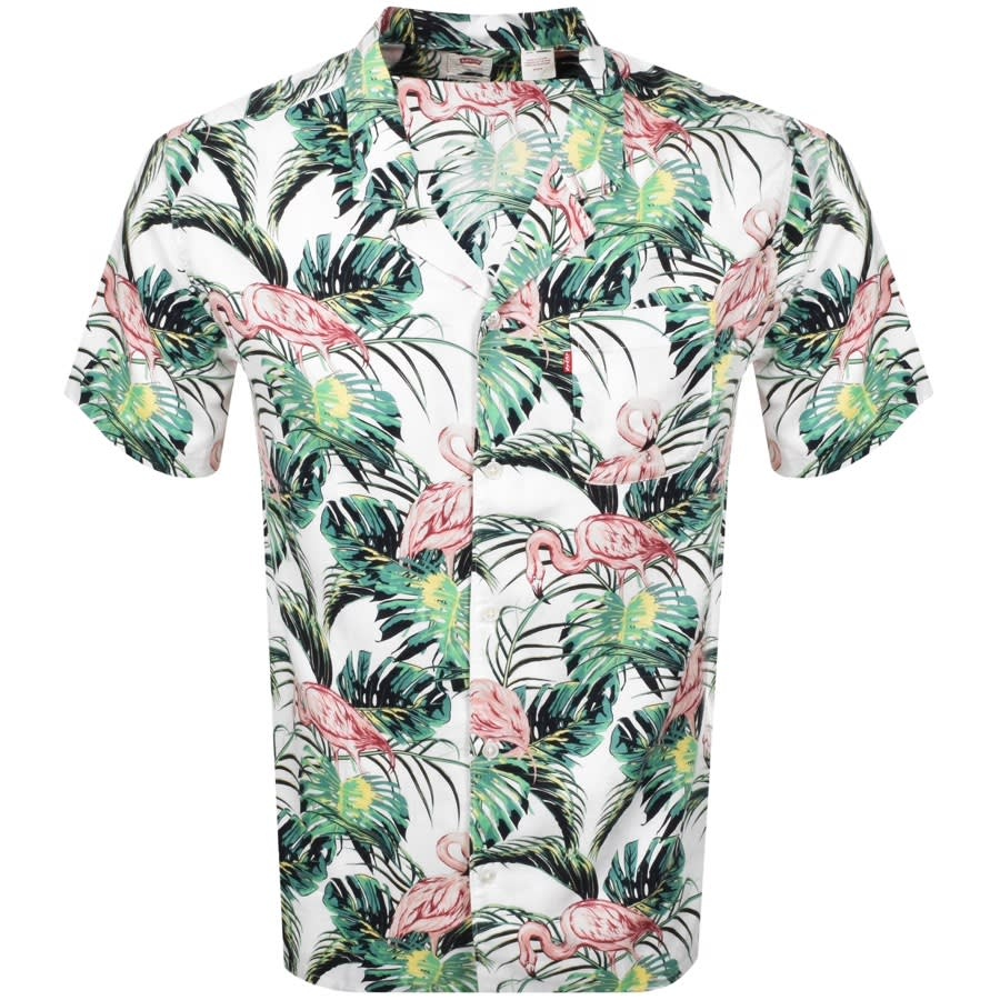 a bright Levis shirt with flamingos