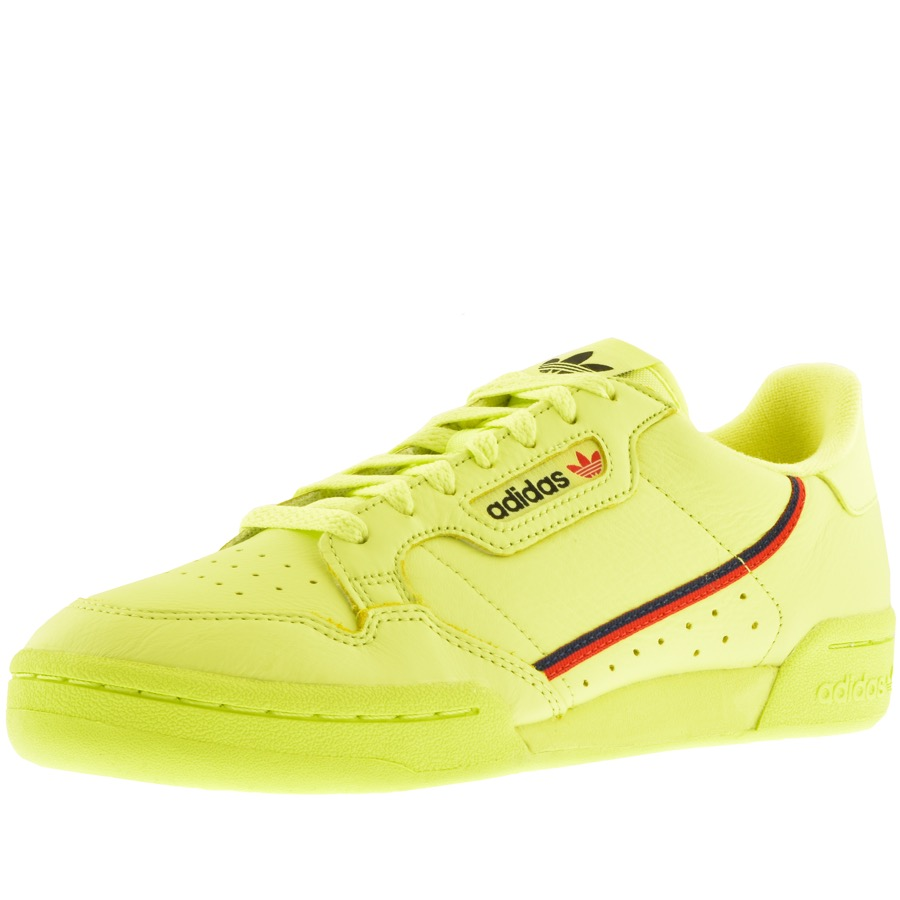 Adidas Originals Continental 80 Trainers in Neon Yellow