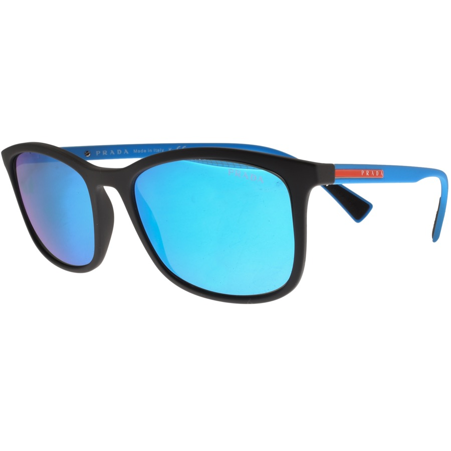 Prada Linea Rossa Sunglasses In Blue, Square shaped acetate frames in a matte navy finish with reflective blue lenses. Integrated nose guards with the discreet signature Prada logo on the top of the left lens. Contrasting blue arms with the signature Prada logo situated on each temple in red and white