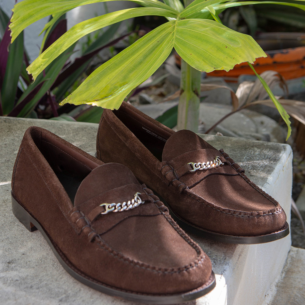 A brown pair of GH Bass Loafers
