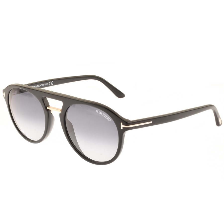 Tom Ford Ivan FT0675 Sunglasses In Black. A small silver coloured Tom Ford embossed metal logo is featured on each black acetate earpiece.