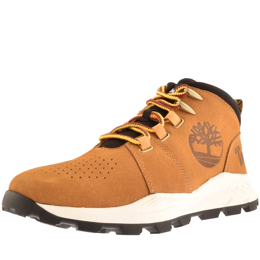 imberland Brooklyn City Mid Boots In Nubuck Caramel Brown, A combination of boot and trainer.