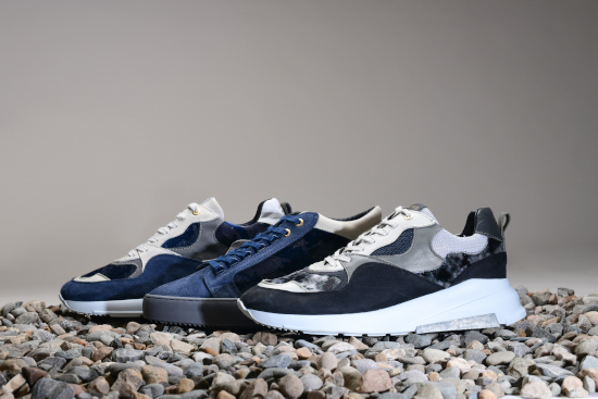 Three different Android Homme trainers in different shades of blue