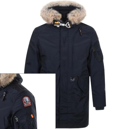A Parajumpers parka jacket in black with a fur lined hood.