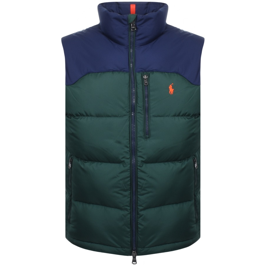 A blue and green gilet from Ralph Lauren