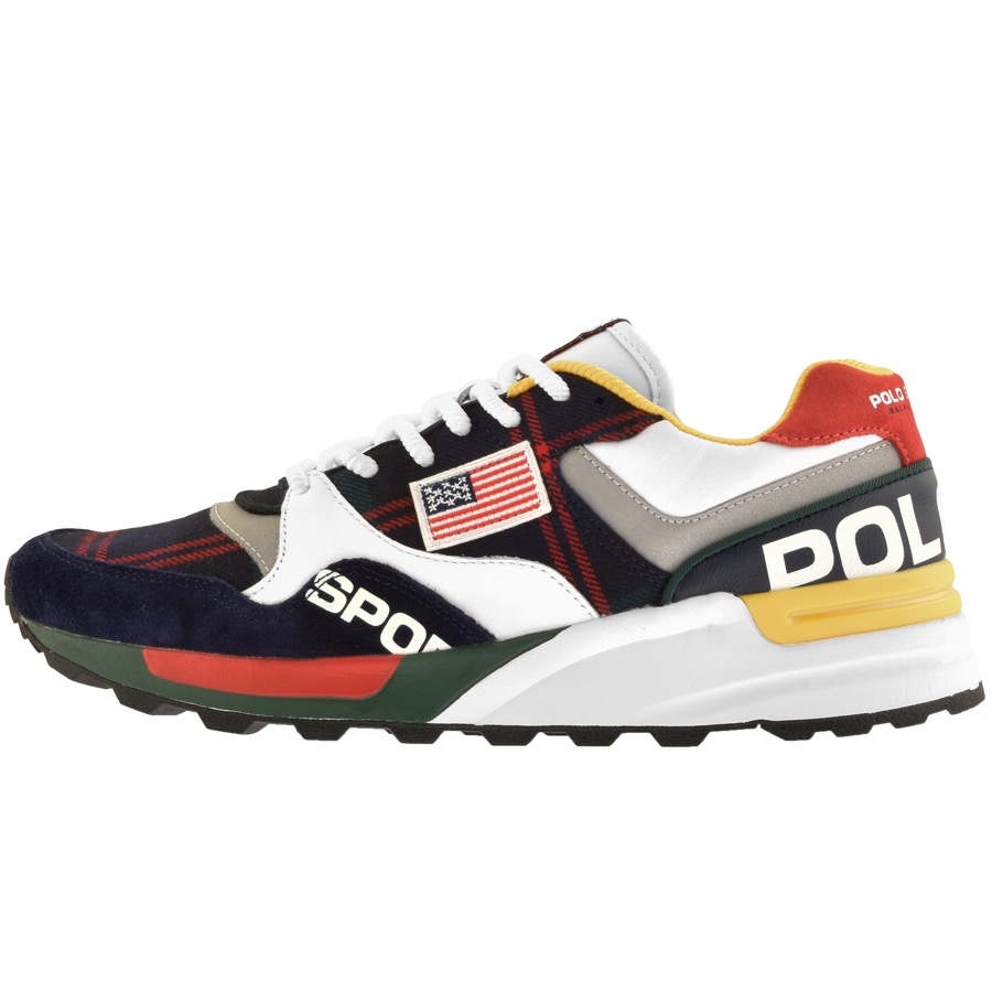 Ralph Lauren trainers with the American flag stitched onto the side in yellow, red and black.