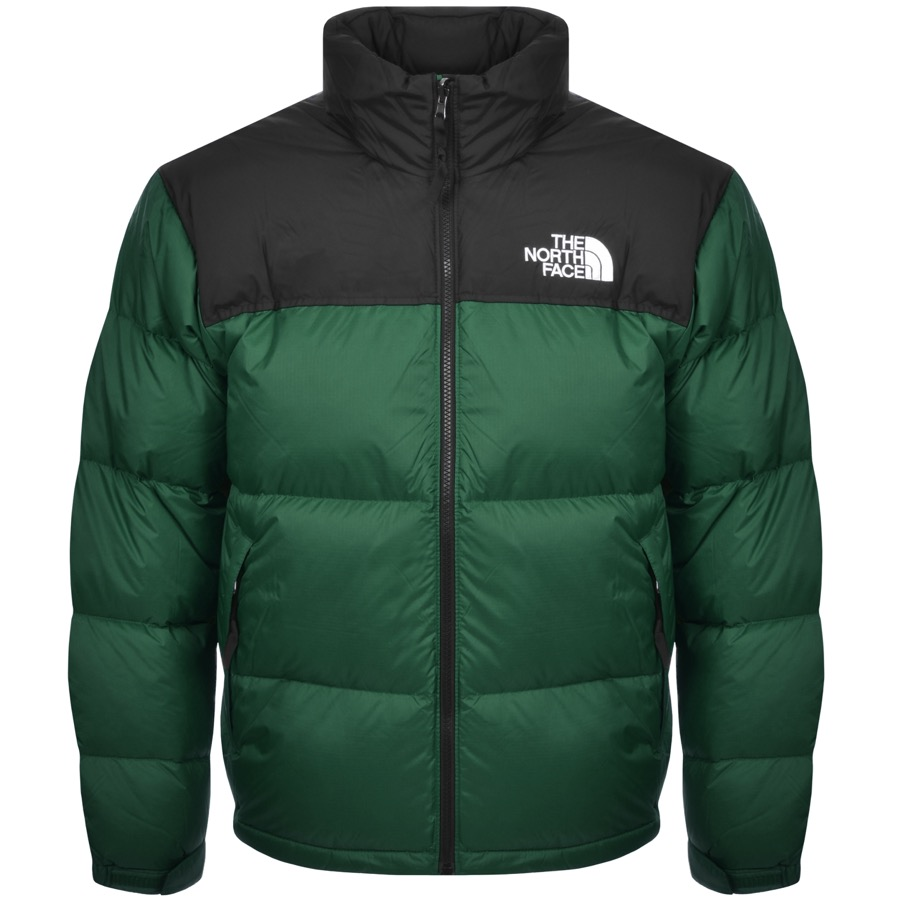 A green Nuptse jacket from The North Face