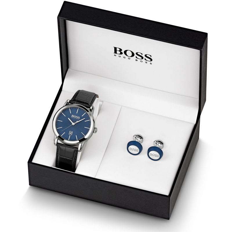 Hugo Boss Watch in a small box with matching cufflinks