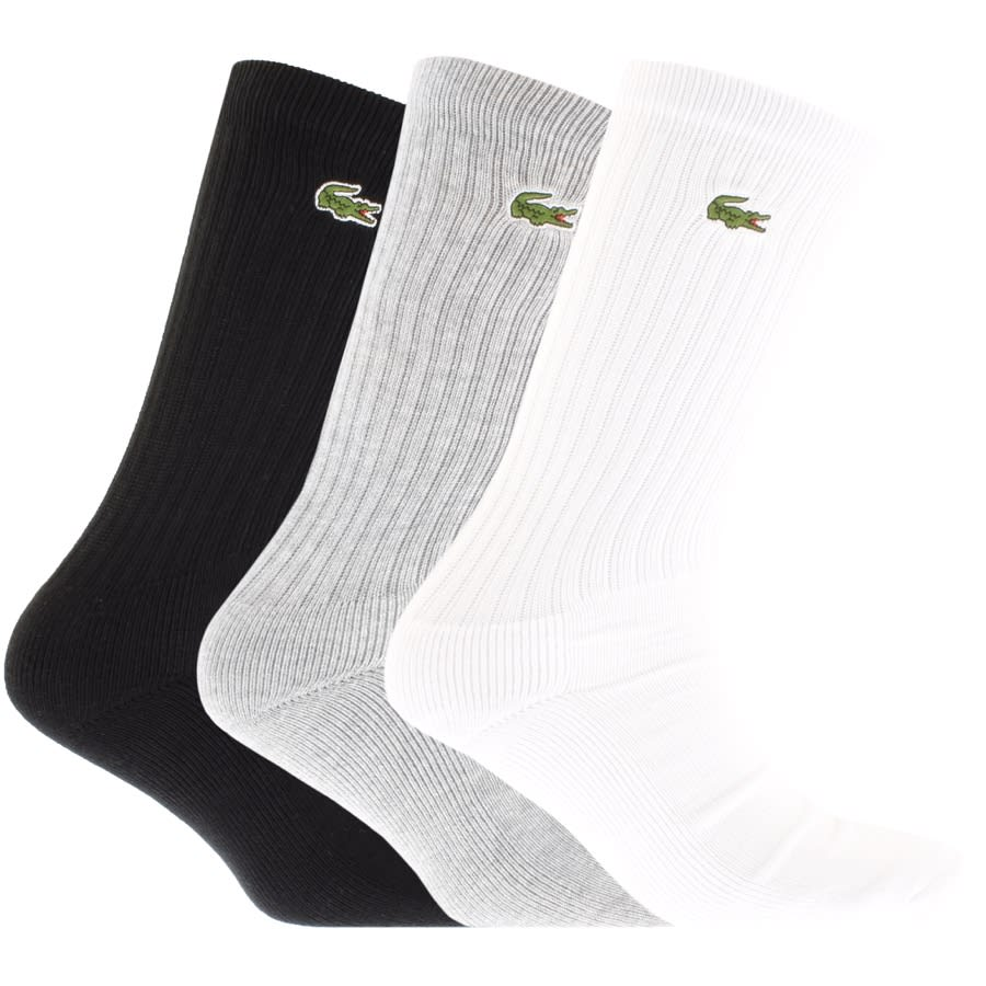 Lacoste Sport sock pack in black, grey and white