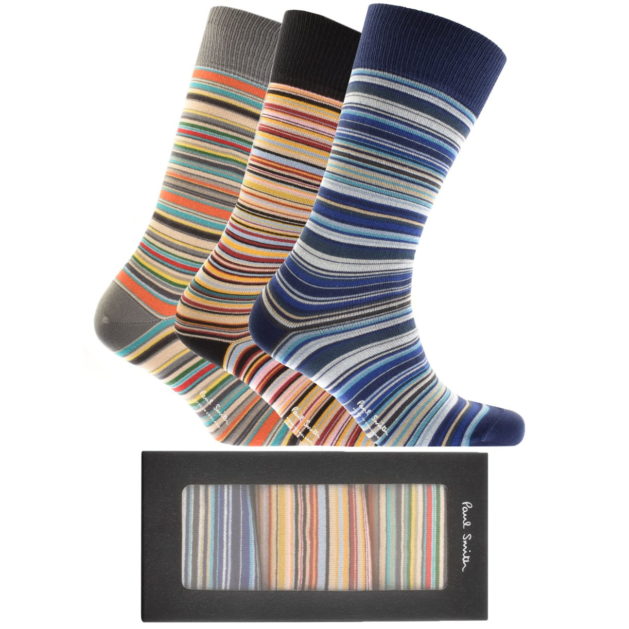 Paul Smith Gift Set 3 Pack Stripe Socks in different shades of blue, orange, red, white, grey and black