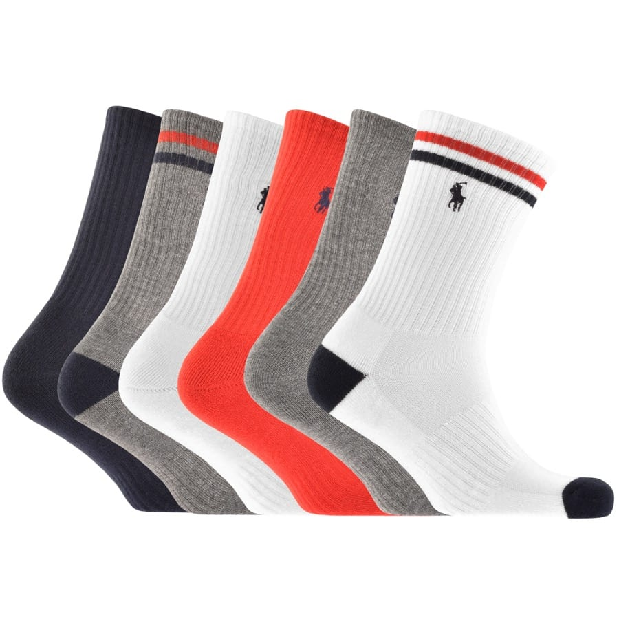 6 socks in a line in blue, greys, whites and reds