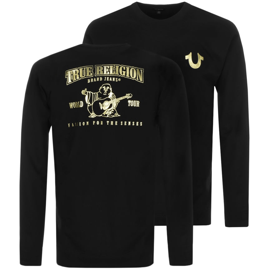A black True Religion jumper with the Buddah logo on the front in gold print