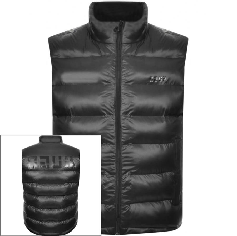 HUGO Baltino Gilet in Black, An overall quilted design with recycled polyester padding