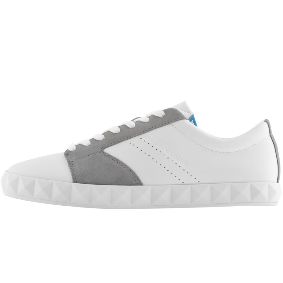 A Emporio Armani trainers in white with grey pannelling