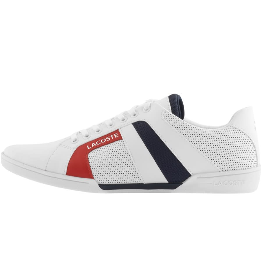 A Lacoste trainer with white mesh and a red stripe