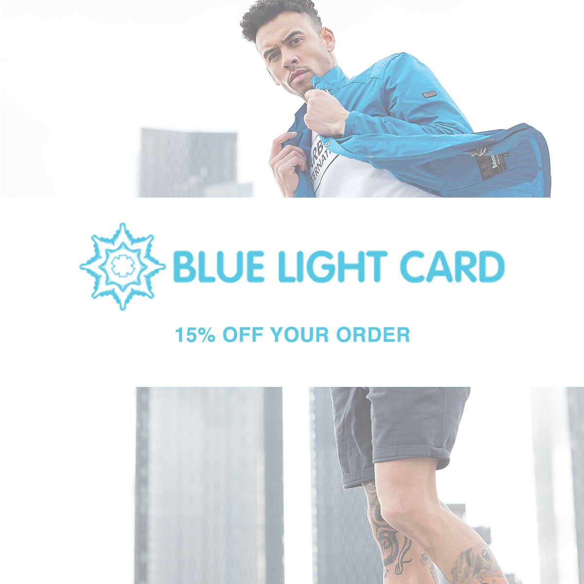 A man is putting on a blue coat with the caption BLUE LIGHT CARD 15% OFF YOUR ORDER is displayed in front of him.