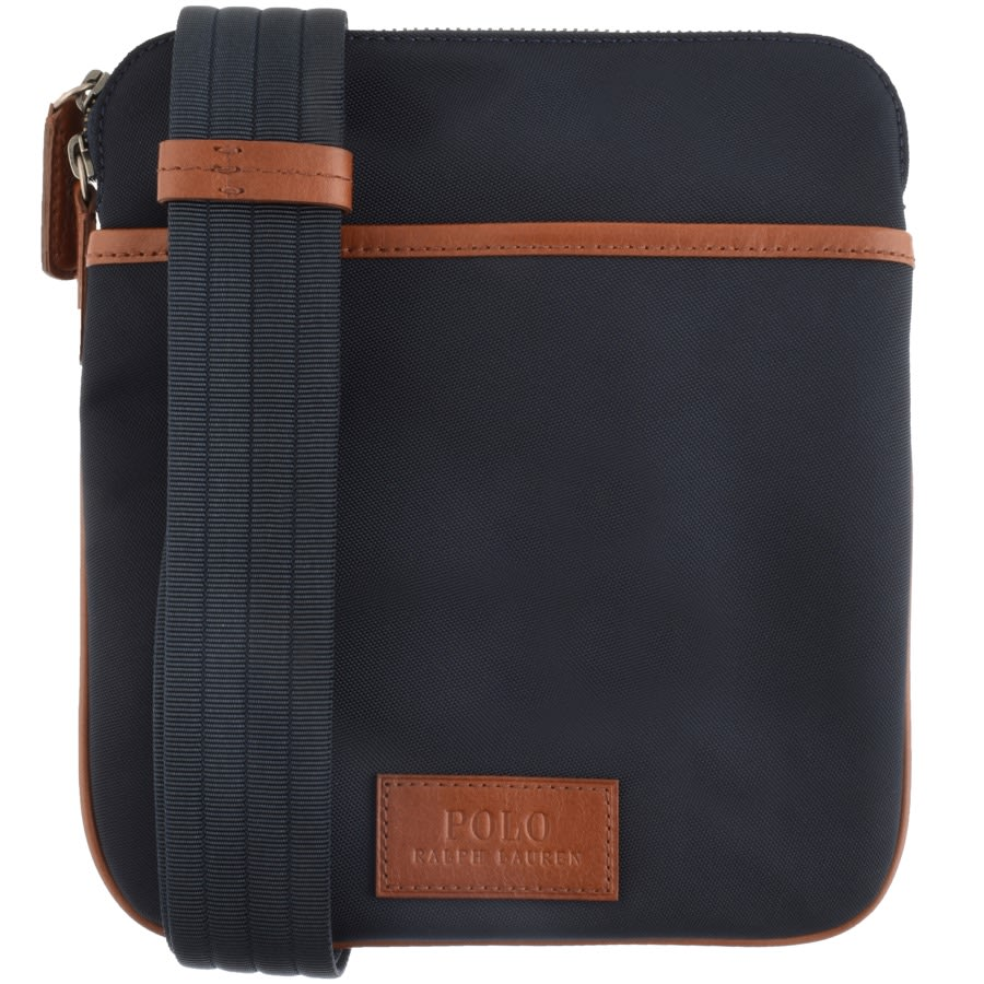 A blue and brown Ralph Lauren cross body bag against a white background