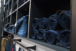 Close up image of denim at Mainline Menswear